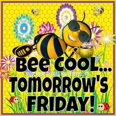 Tomorrow is Friday image #5763 - Bee Cool... Tomorrow's Friday! - Bees, Flowers. View popular Tomorrow is Friday images and share on Facebook, WhatsApp and Twitter. Friday Images, Friday Pictures, Tomorrow Is Friday, Bee Images, Me Quotes, Qoutes, Inspire Me, Instagram, Funny Things