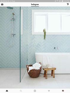 Herringbone tile pattern in light blue on modern bathroom wall. Beach Bathroom Design, Bathroom Inspiration, Bathroom Decor, Bathroom Makeover, Tile Bathroom, Upstairs Bathrooms, Laundry In Bathroom, Bathroom Renovations, Bathroom Design