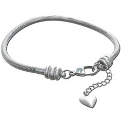 Snake Chain Charm Bracelet Lobster Claw Clasp - Steel