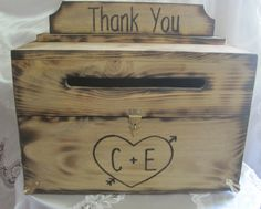 Rustic Card Box Keepsake Chest Woodburned Country Barn style wedding. Personalized heart with bride & groom initials.