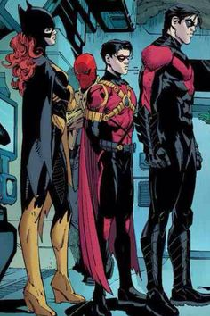 Batgirl, Red Robin, Red Hood and Nightwing