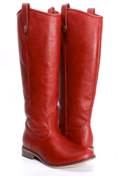 Faux Leather Red Boots