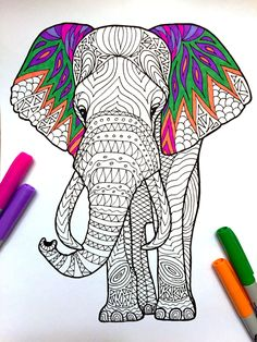 Elephant PDF Zentangle Coloring Page por DJPenscript en Etsy