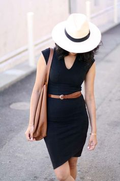 Make a LBD look more casual with a brown leather belt and Panama hat