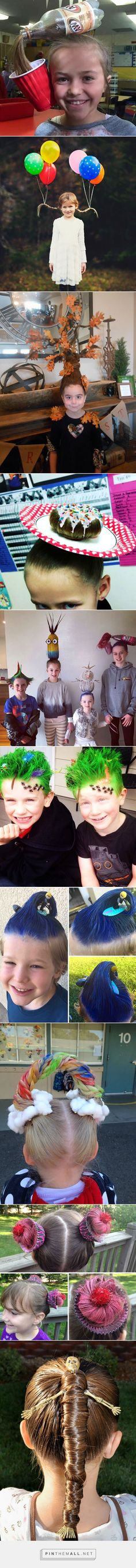 Crazy hair day ideas this is so awesome Crazy Hair Day At School, Crazy Hair Days, Little Girl Hairstyles, Cute Hairstyles, Latest Hairstyles, Wacky Hair Days, Halloween Karneval, Maquillage Halloween, Halloween Disfraces