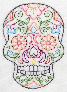 sugar skull embroidery pattern - Pesquisa Google