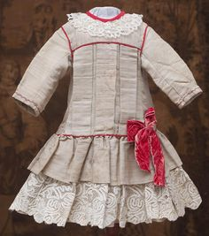 "Antique French Original Bengaline Silk Dress for Jumeau bru Steiner Gaultier E.J. Eden Bebe Doll about 26-27"" tall"