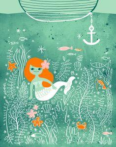 Mermaid Lagoon fine art print\ This paper Ship Mermaid Bathroom, Mermaid Room, Mermaid Art, Mermaid Nursery, Mermaid Paintings, Mermaid Crafts, Mermaid Style, Sirens, Mermaid Images