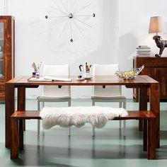 Tafel Latino - 160x80 cm massief sheesham hout gelakt rood
