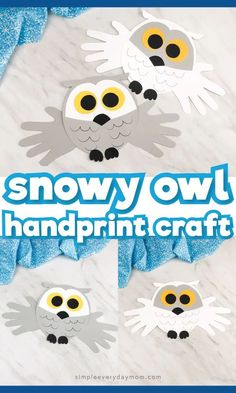 This handprint snowy owl craft for kids is a fun and easy winter activity for toddlers, preschool an Winter Activities For Toddlers, Christmas Activities For Kids, Winter Crafts For Kids, Craft Activities For Kids, Craft Kids, Summer Crafts, Toddler Activities, Owl Crafts Preschool, Daycare Crafts