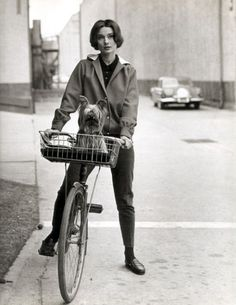 Audrey Hepburn...slacks/casual coat/loafers