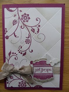 Linda's Craft Room faux tiled card using diagonal scoring tool and flowering flourishes in rich razzleberry