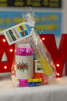 Check out the fun party favor at this Superheroes Birthday Party!! See more party ideas and share yours at CatchMyParty.com #superhero #partyfavor