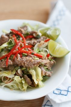 Spicy Thai Beef Salad Recipe (Laab Neua). Preparation is quick & simple but very yummy. Traditionally mixed by sirloin beef, fresh lime juice, fish sauce, roasted sticky rice powder, chilli and lemongrass.