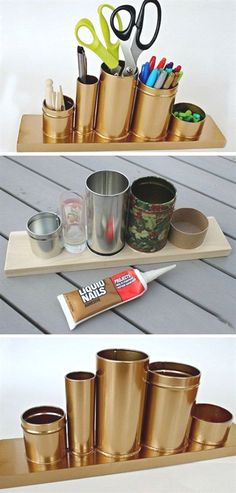Craft Room Organization & Storage Ideas - For Creative Juice - Home Decor - DIY Gold Pencil Holder. Make this awesome gold pencil or desk holder with crap stuff laying around - Upcycled Crafts, Diy And Crafts, Gold Diy, Diy Ouro, Diy Rangement, Small Space Storage, Creation Deco, Ideias Diy, Diy Décoration