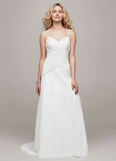 NEW! Chiffon A Line Gown with Beaded Cap Sleeve Detail Style V3688 David's Bridal Collection