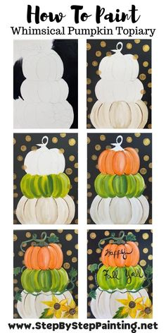 Fall Canvas Painting, Canvas Painting Tutorials, Autumn Painting, Autumn Art, Diy Painting, Pumpkin Painting, Fall Paintings, Painting Pumpkins, Painting Steps
