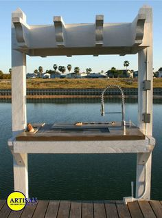 Fish cleaning station. Fish Cleaning Table, Fish Cleaning Station, Floating Dock, Lakefront Property, Pond Landscaping, Boat Lift, Fish House, Lake Cabins, House With Porch