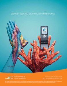 ATT Hands campaign: Bahamas, Coral Reef - design by BBDO Atlanta/New York with body painter Guido Daniele