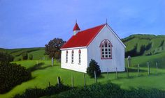 'Church with a View', acrylic by Kate McLaren Nz Art, Artists, Mansions, House Styles, Painting, Home Decor, Decoration Home, Room Decor, Artist