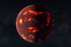 55 Cancri E an exoplanet.  Half the planet is covered in a red-hot magma ocean, while the other half experiences perpetual night.