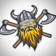Viking logo by Ivan Mogilevchik Logo Branding, Branding Design, Logo Design, Beard Logo, Viking Logo, Sports Team Logos, Mascot Design, Graphic Design Typography, Logo Inspiration