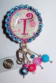Pink and Blue Swarovski Crystal ID Badge Reel with by DOTKshoppe, $13.00