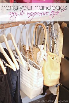 Since we moved I've been looking for a way to wrangle all my purses and such. Shower hooks on a closet rod are a brilliant idea!