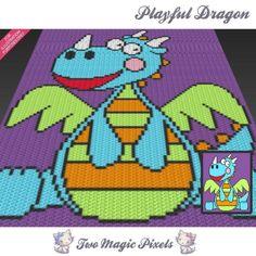 Playful Dragon c2c graph crochet pattern