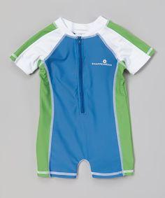 Look what I found on #zulily! Envya Swimwear Blue & Green Color Block Rashguard - Infant by Envya Swimwear #zulilyfinds