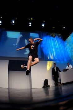 Felix Zenger during his World Footbag Championships freestyle routine.