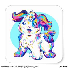 """""""Jumped through a Rainbow"""" is a cute digitally enhanced colored pencil drawing that is part of Sipporah's Cute Cartoon Puppy collection. This fun, colorful, and trendy design is sure to put a smile on all art and animal lovers' faces. Puppy Care, Pet Puppy, Pet Dogs, Online Pet Supplies, Dog Supplies, Anime Puppy, Puppy Drawing, Happy Puppy, Cute Animal Drawings"""