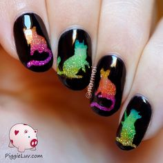Do you like cats as much as we do? Then try one of these cutest cat nail designs. Check out the best 45 cat nail art ideas! Cat Nail Art, Animal Nail Art, Cat Nails, Nail Art Diy, Nail Art Tricks, Cat Nail Designs, Rainbow Nails, Glitter Nail Art, Nail Art Galleries