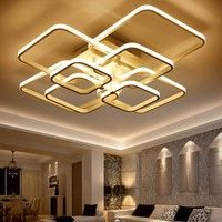 Wish | 4/6/8Squares Circles Rings Chandelier for Living Room Bedroom Home Modern Led Ceiling Chandelier Lamp Fixtures  (with Remote Control)