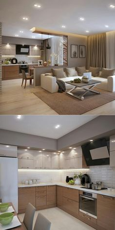 Living Room And Kitchen Design, Kitchen Dinning Room, Kitchen Cabinet Design, Home Decor Kitchen, Kitchen Interior, Interior Design Living Room, Small House Interior Design, House Furniture Design, Home Room Design