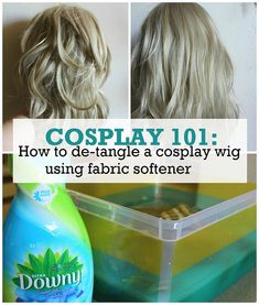 cosplay 101: how to de-tangle a cosplay wig using fabric softener #cosplay #wigcare
