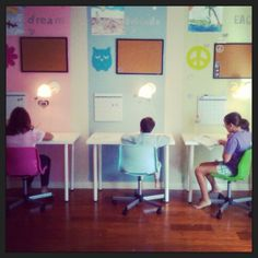 Homeschool room-  I like how the desks are movable.  If you have some kids not getting along it's not hard to fix:)