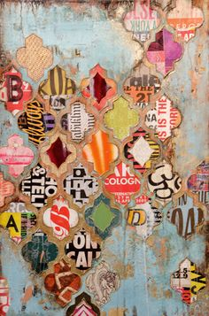 cut stencil in cardboard, cut out shapes from magazine pages, create collage!would use a paper punch to get shapes from scraps and then make collage :)