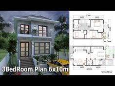 3 Bedrooms Small Home Design Plan This villa is modeling by SAM-ARCHITECT With 2 stories level. It's has 3 bedrooms. 3 Bedroom House description: The House has Car Parking small … Free House Design, Two Story House Design, Small House Design, Modern House Design, Duplex House Plans, Bungalow House Design, Dream House Plans, Small House Plans, The Plan