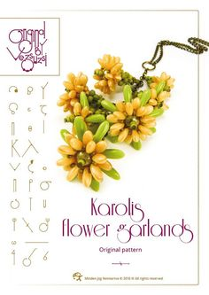 Beading tutorial / pattern Karolis necklace with rizo beads… PDF instruction for personal use only Flower Garlands, Flower Tutorial, Beading Tutorials, Beaded Flowers, Bead Weaving, Beaded Jewelry, Flower Jewelry, Seed Beads, Illustration