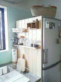 Diy kitchen storage - A good place for keeping the kitchen! I tried to do – Diy kitchen storage Cheap Home Decor, Diy Home Decor, Home Decor Styles, Decor Crafts, Wood Crafts, Diy Crafts, Diy Kitchen Storage, Small Kitchen Organization, Small Bathroom Storage