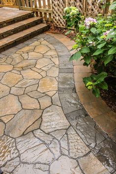 Backyard Landscaping and Patio Reveal - Gardening Backyard Walkway, Backyard Patio Designs, Small Backyard Landscaping, Landscaping Ideas, Backyard Ideas, Sloped Backyard, Walkway Ideas, Front Walkway Landscaping, Garden Paths