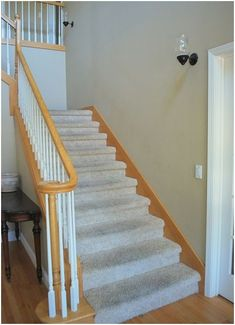 staircase-before-centsational-girl-wood-trim How to stain oak railing Staircase, Staining Wood, Wood Trim, Orange Wood, Staircase Design, Wall Colors, Oak Banister, Neutral Wall Colors, Stained Wood Trim