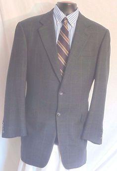 Hickey Freeman Blue Blanket Plaid Mens 2 Button Wool Sport Coat Size 42L #HickeyFreeman #TwoButton