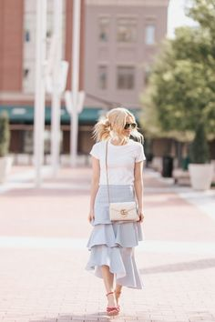 e3a6d74b53 How to Style Your Favorite White Tee with a Midi Skirt | Blue and White  Stripe