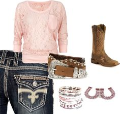 """pink cowgirl"" by lynleemadrid on Polyvore"