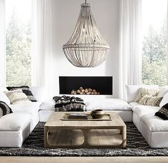 Restoration Hardware is the world's leading luxury home furnishings purveyor, offering furniture, lighting, textiles, bath… Living Room Sofa, Living Room Furniture, Restoration Hardware Living Room, Living Room Carpet, New Living Room, Trendy Living Rooms, Couches Living Room, Living Decor, Living Room Designs