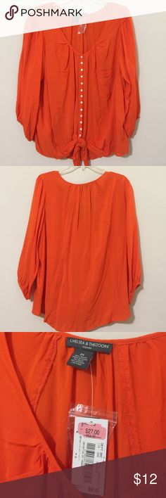 Orange 3/4 Sleeve Blouse - New with Tags! This is a brand new orange 3/4 sleeve Blouse by Chelsea & Theodore. It has a button up front with a tie at the bottom, and it's lightweight and comfy - perfect for summer days! Chelsea & Theodore Tops Blouses