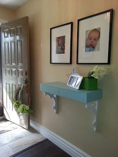 DIY Entry Way Wall Shelf Table This may be DIY'd from an IKEA drawer set? Would be a perfect drop spot for us.
