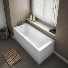 Square Single Ended Bath - Excludes Panels. Tap Holes: Product Type: Single Ended Bath. Bath Panels are not Included.Bath only. Grey Bathroom Tiles, Grey Bathrooms, Modern Bathroom, Small Bathroom, Bathroom Ideas, Bathroom Beadboard, Neutral Bathroom, Traditional Bathroom Mirrors, Edwardian Bathroom